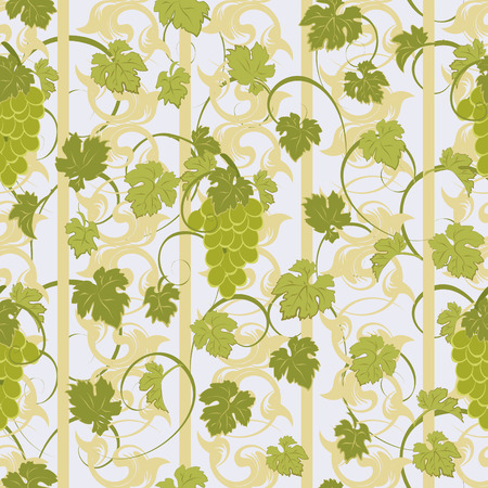 clusters: Seamless pattern with grape clusters and leaves.