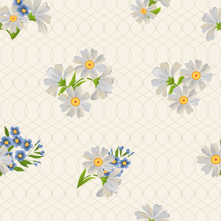 Vector repeating pattern with daisies and forgetmenots. Vector