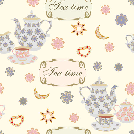 Seamless pattern with teapots and cups. Vector