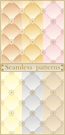 quilted fabric: Six seamless patterns with stylized quilted fabric. Illustration