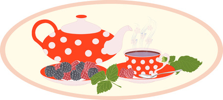blackberries: Red kettle and Cup in peas and raspberries and blackberries.