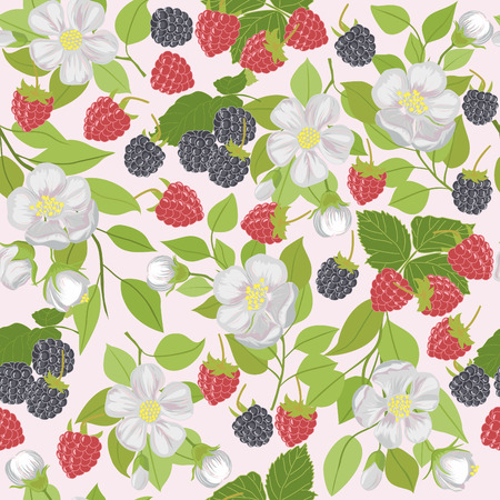 dewberry: Vector repeating pattern with berries and white flowers.