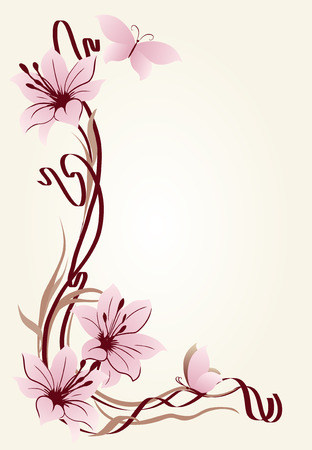 Background for text with lilies and butterflies in art Nouveau style.
