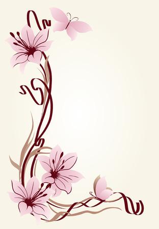 mariposa: Fondo para el texto con los lirios y las mariposas en el estilo de Nouveau del arte. Vectores