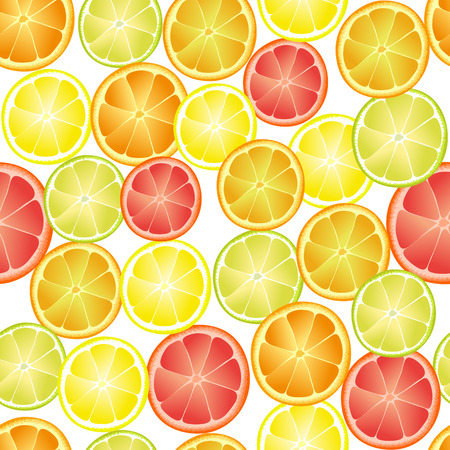 citron: Seamless pattern of different citrus fruits on a white background.