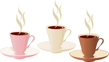 turkish dessert: White, brown and pink insulated coffee cups. Illustration