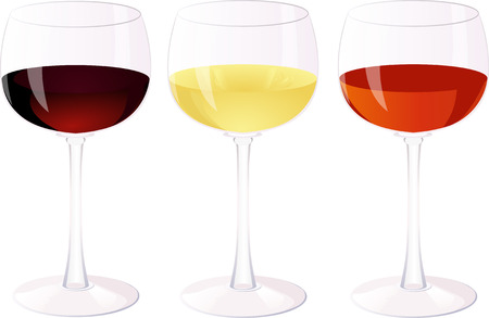 red wine pouring: Three glasses of wine.