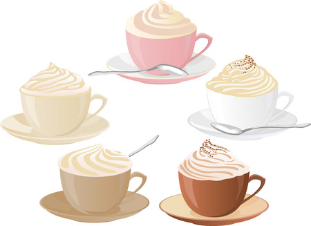 whipped cream: Vector set of coffee cups with whipped cream.