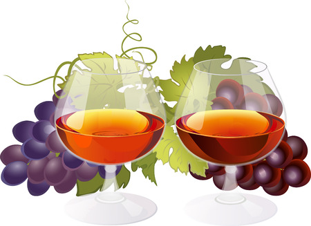 cocktail glasses: Composition with glasses of brandy and grapes.