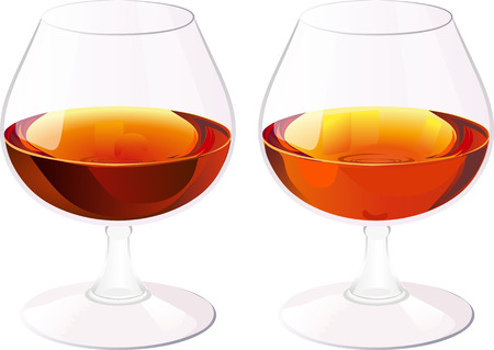 brandy: Two glasses of brandy.