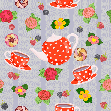 Repeating pattern with teapot, cups, flowers and berries.