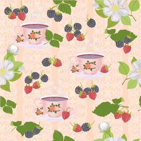 appetizing: Appetizing a repeating pattern with cups, Apple blossoms and berries. Illustration