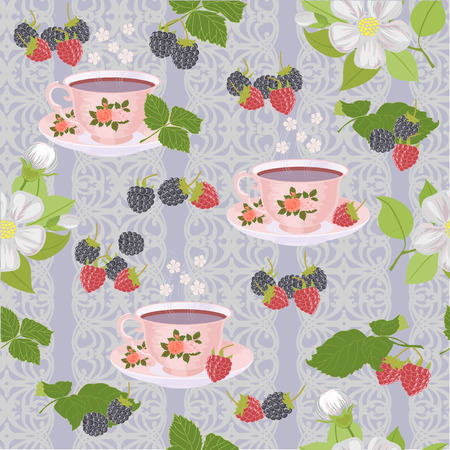 blackberries: Vector seamless pattern with cups of tea, raspberries and blackberries and Apple blossoms.