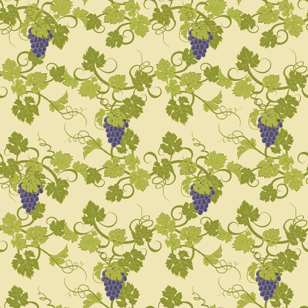 bunches: Repeating pattern with vines and bunches of grapes.