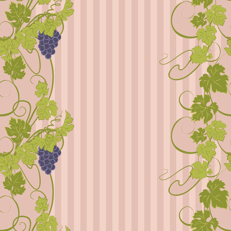 bunches: Seamless texture with vines and bunches of grapes. Illustration