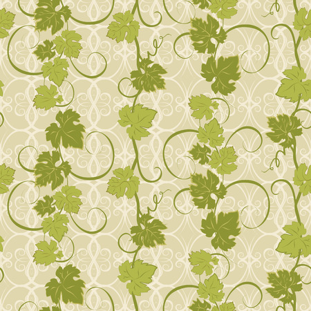 vine leaf: Vector repeating pattern with vines in vintage style.