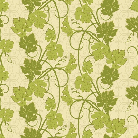 viticulture: Vector repeating pattern with vines in vintage style.