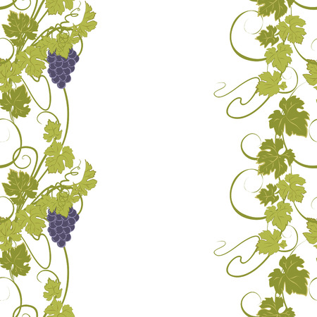 Seamless texture with vines and bunches of grapes. Illusztráció