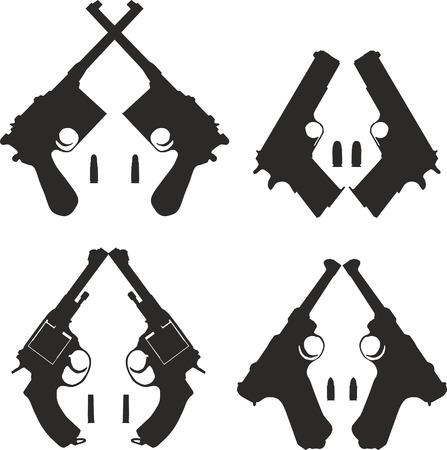 weaponry: Set of four black silhouettes of pistols for the icons.