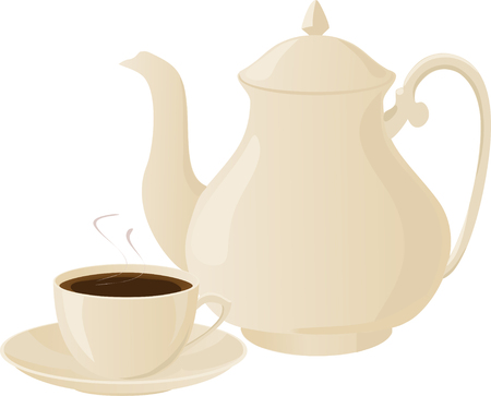Vector illustration of coffee pot and coffee cups.