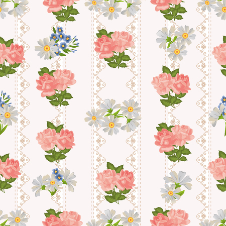 vintage lace: Seamless pattern with roses and daisies on a background of vintage lace.