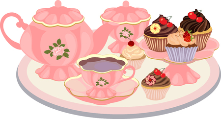 Vector composition of dishes for tea and sweets in vintage style. Illusztráció