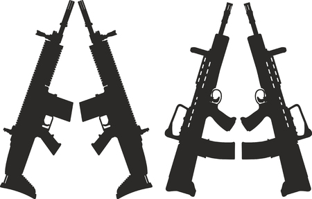 Vector icons of modern small arms on a white background.