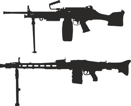 Set of silhouettes of machine gun. Illustration