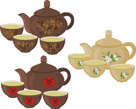 izole nesneleri: The teapot and small cups of Chinese green tea. Set of isolated objects. Çizim
