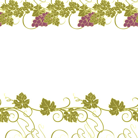 grape vines: Seamless texture with vines and bunches of grapes. Illustration