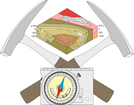 geological: Geological compass, geological hammer and a block diagram. Illustration