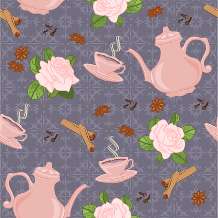 oriental vector: Vector seamless pattern with coffee pot, cups and Oriental spices. Illustration