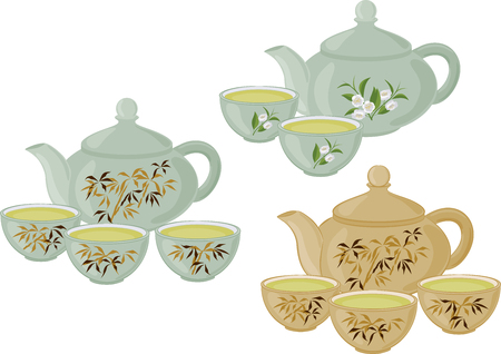 The teapot and small cups of Chinese green tea. Set of isolated objects. Illustration