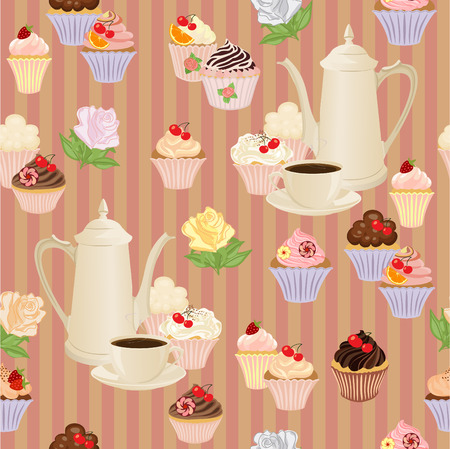 coffee pot: Seamless pattern with coffee pot, cups, cakes and roses.