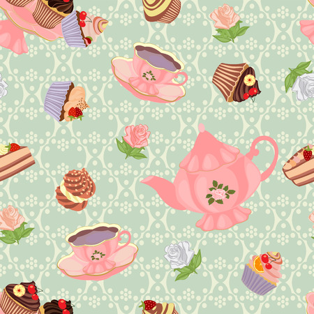Seamless pattern with teapot, cups, cakes and roses. Illustration