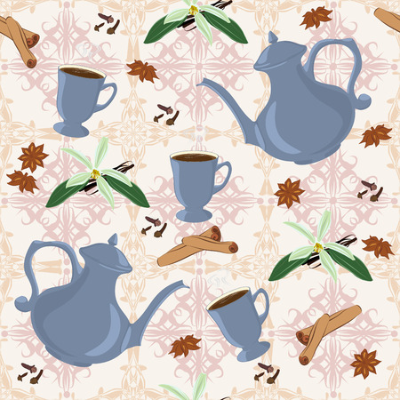 clous de girofle: Seamless pattern with coffee pot, cups, cinnamon, vanilla, anise and cloves. Illustration