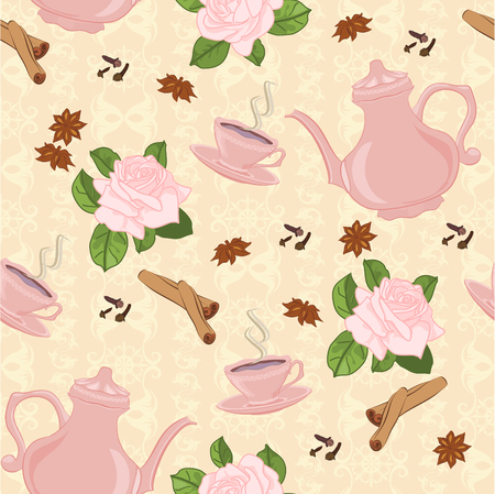 anise: Seamless pattern with coffee pot, cups, cinnamon, cloves, anise and roses.