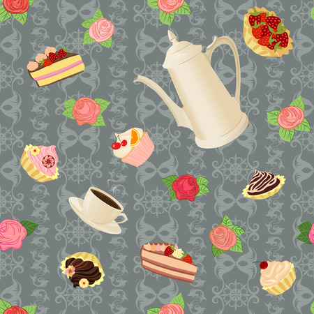 coffee pot: Vector seamless pattern with coffee pot, cups, cakes and flowers. Illustration