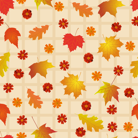 dry leaf: Seamless pattern with bright autumn leaves.
