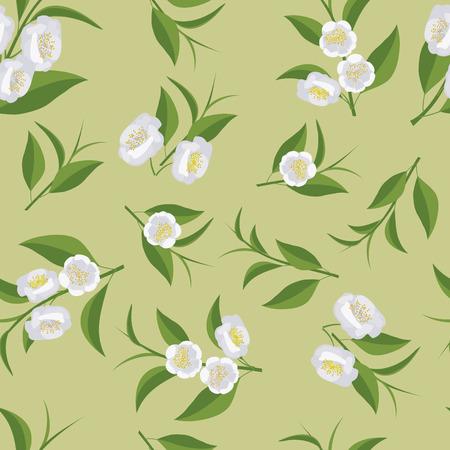Seamless texture with leaves and flowers of tea. Camellia flowers. Illusztráció