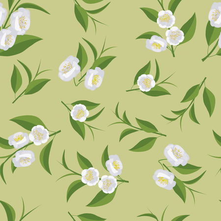 Seamless texture with leaves and flowers of tea. Camellia flowers. Illustration