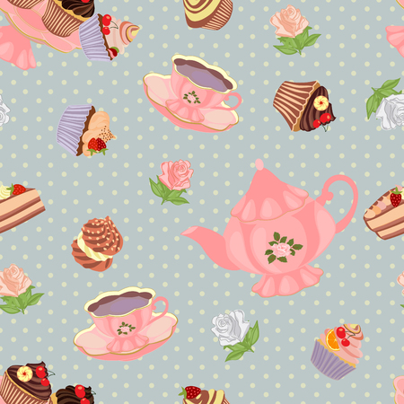 Vector seamless pattern with teapot, cups, cakes and flowers.
