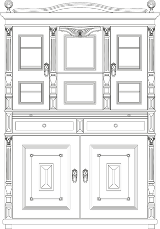 sideboard: Graphic vector image of vintage sideboard on a transparent background.