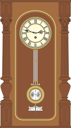 pendulum: Antique wall clock with a pendulum. Vintage wall clock in a wooden case.
