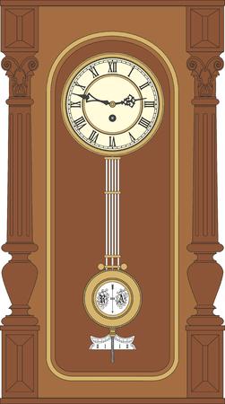 reloj de pendulo: Reloj de pared antiguo con un p�ndulo. Reloj de pared de la vendimia en una caja de madera. Vectores