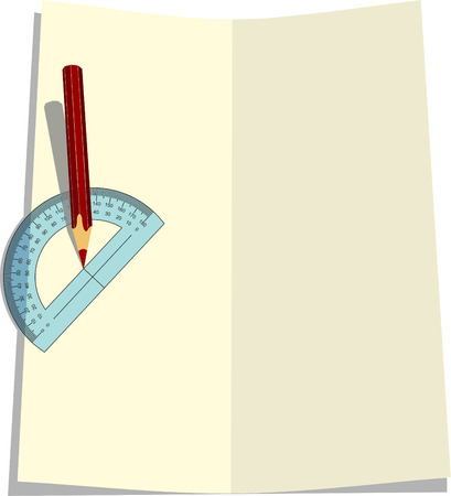 protractor: Background for the text with a pencil and protractor.