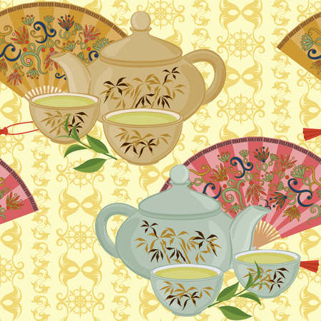 chinese tea pot: Seamless pattern with teapot, a small cup of green tea and fans.