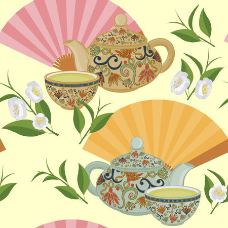 Seamless pattern with teapot, a small cup of green tea and fans.