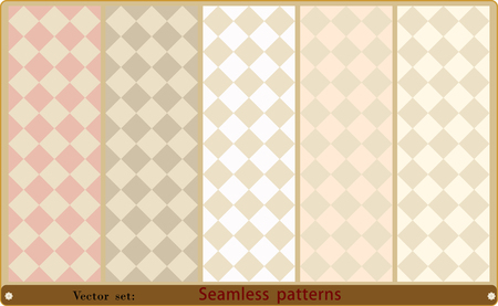 retro patterns: Vector set of seamless rhombic patterns of various colors.
