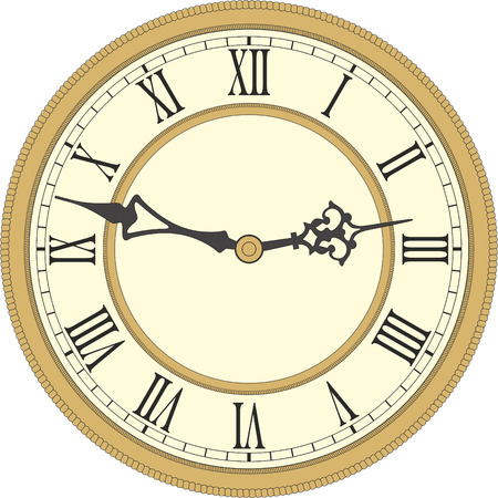 Vector image of a round, old clock with Roman numerals. Illustration